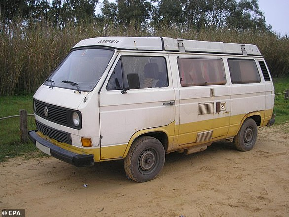 The Bedford van, which Brueckner owned at the time Madeleine went missing, was impounded for the non-payment of a fine for stealing fuel and later crushed before it could be searched for evidence. Pictured: The VW van owned by Brueckner when he lived in Portugal