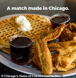 The restaurant of fried chicken and waffles platter