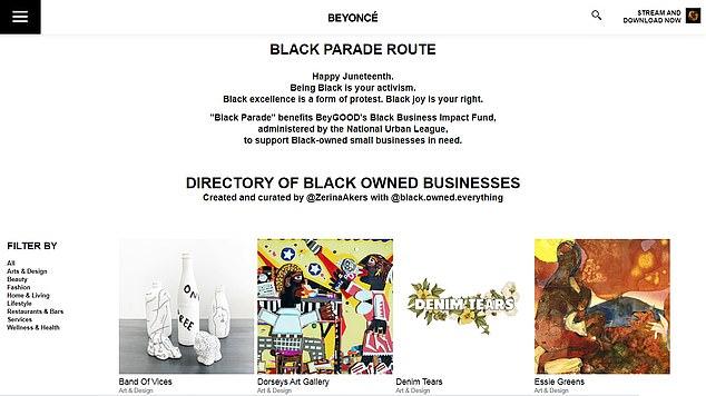 Manifestation de soutien: The Black Parade Route sur le site Web de Beyonce répertorie les entreprises appartenant à des Noirs dans des catégories telles que: Art et design, Beauté, Mode, Maison et vie, Mode de vie, Restaurants et bars, Services et Bien-être et santé