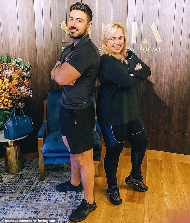 Stay fit: the personal trainer of Rebel, Jono Castano Acero (left), recently shared her workout routine with E! Australia. During a typical week, she does a combination of exercises HIIT, mobility, weight and resistance, and only has one day a week of rest