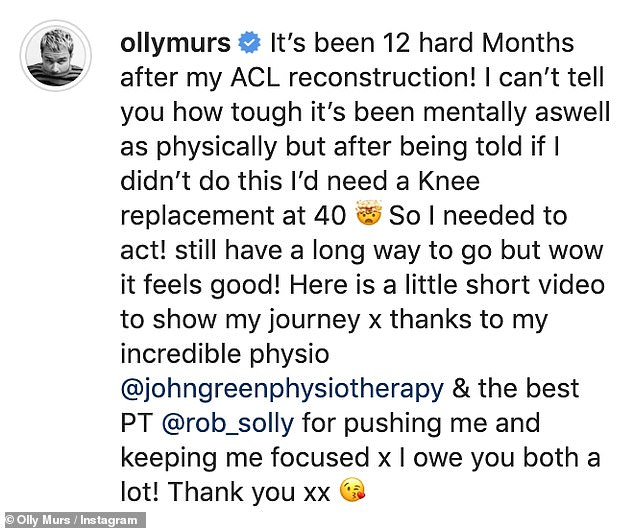 Reflection: Olly captioned the video explaining why he chose to have the surgery and thanked the professionals for their help