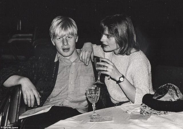 Serious look:Boris and Allegra take a break from the dancefloor in another picture from the Sultans Ball in 1986. They would marry a year later when they were 23