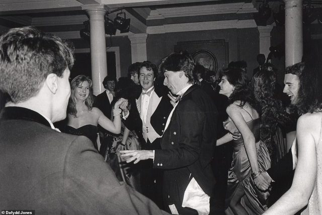 Cam dancing: David Cameron, in full Bullingdon Club outfit, at the Pitt Club Ball in 1987