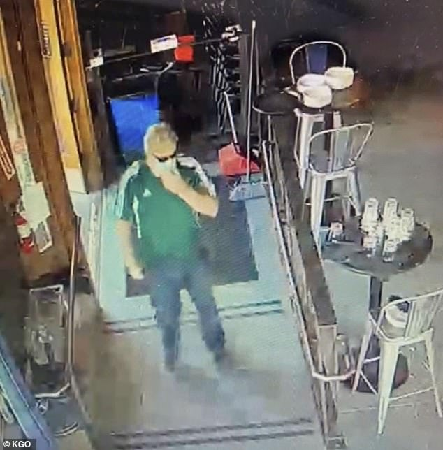 Steve Cibotti, 55 years old, is seen here in a grab from the surveillance video of the restaurant, on the 7th of June, when he allegedly threatened the young family. He was arrested and charged Thursday