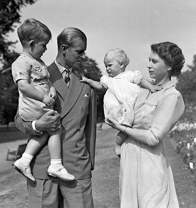 The Prince of Wales has also celebrated his own father, the Duke of Edinburgh, 99, with a small photo taken in 1951 on the grounds of the Clarence House. The photo shows the Prince Philip, bearing his eldest son, while the Princess Elizabeth cradles a child of the Princess Anne