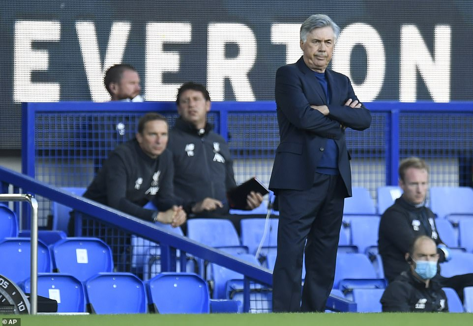 Everton boss Carlo Ancelotti watches on from the sidelines as his team took on rivals Liverpool in the Merseyside derby