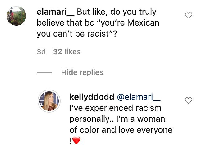 Love the whole world: She has written in response to a follower who asked if she thinks being Mexican means she can't be racist: 'I¿ve experienced racism personally.. I¿m a woman of color and love everyone !'