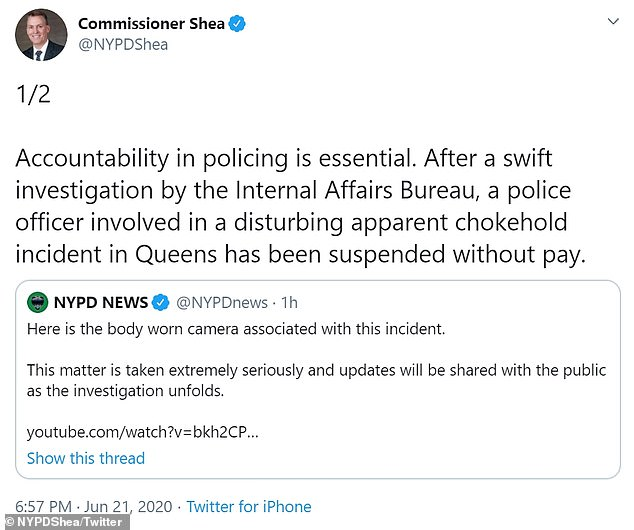 The NYPD Commissioner swiftly suspended the officer and said an investigation is underway