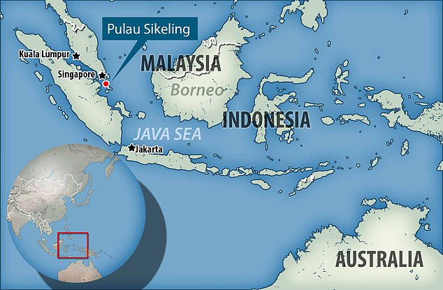 A map showing the location of Pulau Sikeling, which iseight nautical miles from the equator