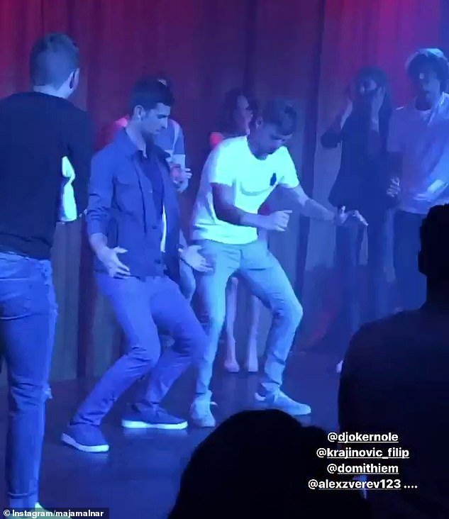 Djokovic (left centre) was joined by the likes ofAlex Zverev and Dominic Thiem in a nightclub