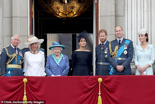 Lady Colin claimed Meghan is the only young person who has been prompted to take with the Queen at Buckingham Palace (pictured on the balcony watching a flypast to mark the centenary of the RAF, July 10, 2018)