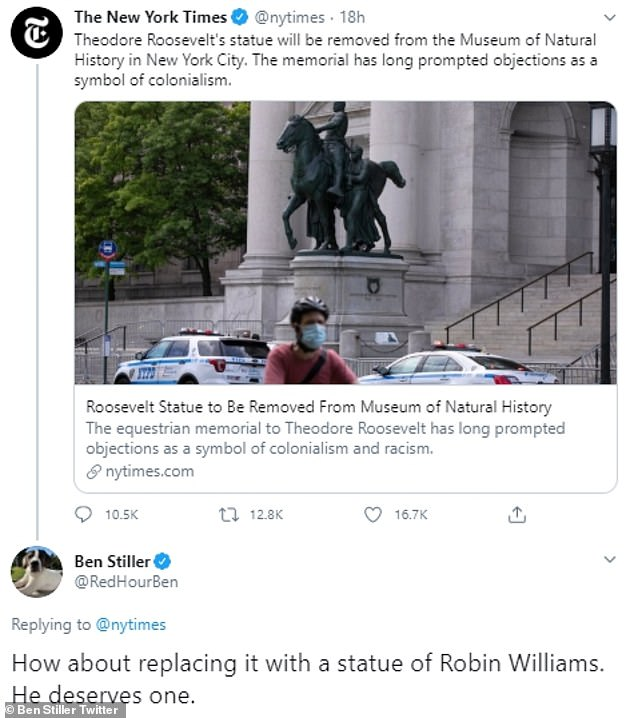 Good idea: Ben Stiller took to Twitter on Sunday, with the suggestion that his Night At the Museum costar Robin Williams to be the inspiration for a new statue in place of one of Theodore Roosevelt in front of the City of New York Museum of Natural History
