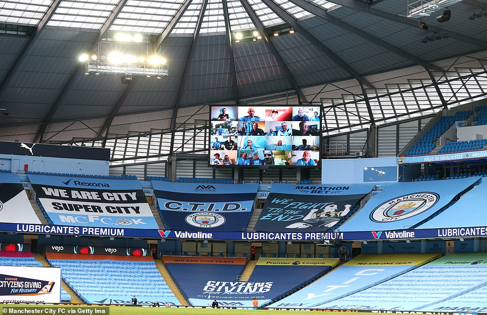 City fans watching on a video call as the Premier League clash is played out behind closed doors on Monday evening