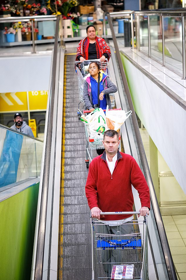 Shoppers use a rolling after seeding on their races to Endeavour Hills Shopping Centre on Tuesday