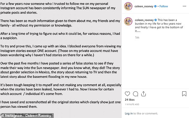 The statement: In October, Coleen publicly accused Rebekah's account in a statement of selling fake stories about her, sparking an angry denial from the then-pregnant WAG