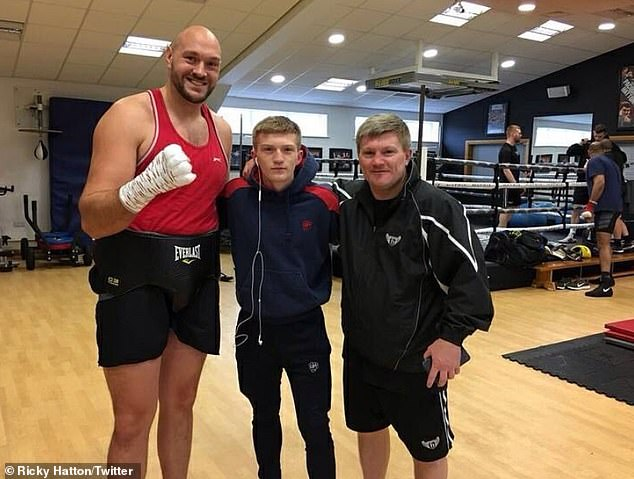 British great Ricky Hatton trains his son Campbell, who is expected to turn professional soon