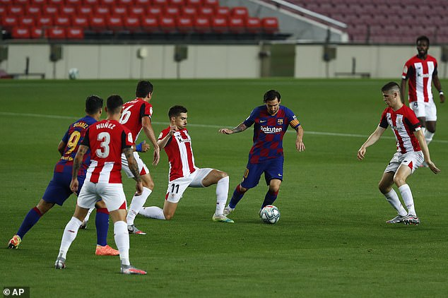 Lionel Messi tried to bundle his way through the massed ranks of the Athletic back line