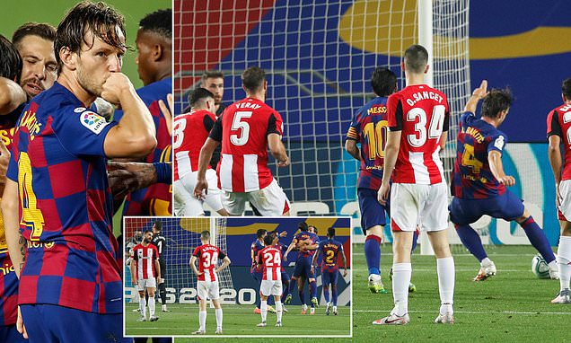 Barcelona 1-0 Athletic Bilbao: Barca move three points clear of Real Madrid after Rakitic