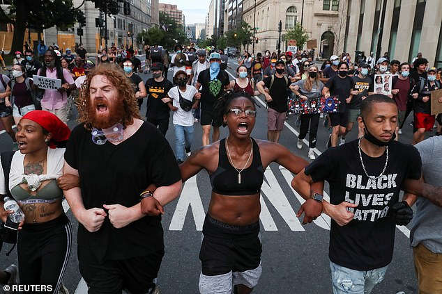 Protests continued across Washington D.C. on Tuesday nights despite threats from Trump