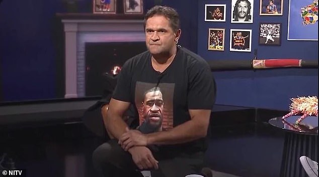 Nicky Winmar dropped to his knee while paying his respects to the Black Lives Matter movement during a recent tv appearance. He was wearing a George Floyd T-shirt