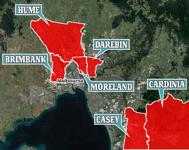 Australians were previously warned to stay away from six council in Melbourne: Hume, Casey and Brimbank, Moreland, Cardinia and Darebin, when the clusters first began to surge