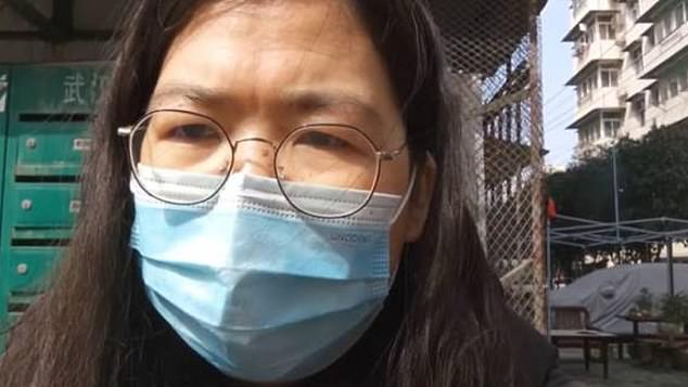 A Chinese citizen journalist (pictured) who uploaded coronavirus reports from Wuhan onto social media to criticise the city's handling of the outbreak has reportedly been arrested