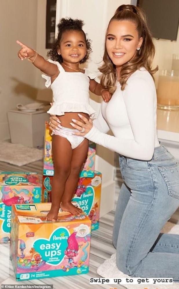 Proud mom!  Khloé Kardashian promotes Pampers with her two-year-old daughter True Thompson, while showing off her noticeably different-looking face on Wednesday