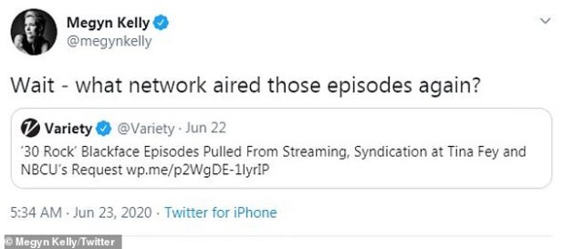 Burn: The 49-year-old political commentator scoffed at the network when he was forced to drop episodes of 30 Rock for depicting the racially insensitive practice.