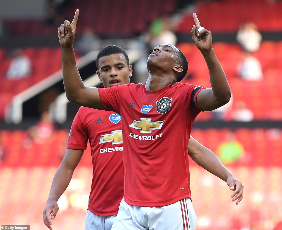 Martial celebrates after netting on the stroke of half time, having already given United a seventh minute lead on Wednesday