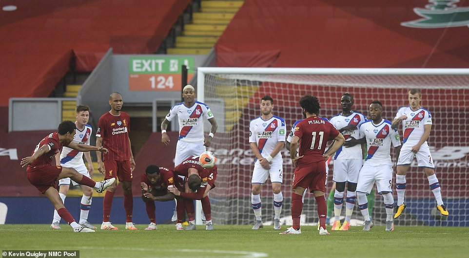 The Liverpool full-back demanded responsibility ahead of Mohamed Salah (right) and he produced a pin-point delivery