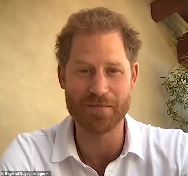 Prince Harry, 35, (above) appeared in high spirits and boasted a lockdown tan during an England Rugby video launched yesterday