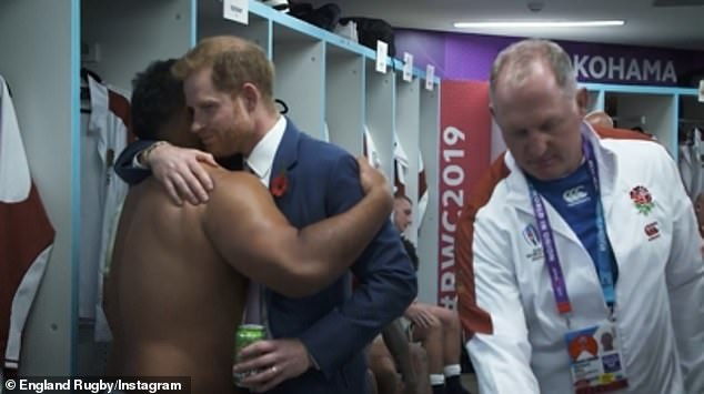 The Duke of Sussex (pictured in archive footage), 35, who is currently living in LA with wife Meghan and their son Archie, one, after stepping back from his royal duties, admitted he was 'missing rugby' since its suspension on March 20