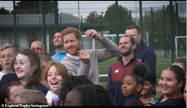 Prince Harry (pictured in archive footage before the pandemic) is patron of the Rugby Football Union (RFU)