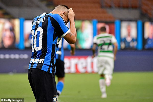 Inter's Lautaro Martinez showed his anguish after watching his side throw away two points
