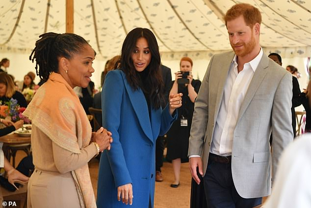 The Duchess had previously taken part in cooking workshops with the organisation when she was a teenager alongside her mother Doria (pictured, with the Prince Harry at the launch of the Hubb cookbook in 2019)