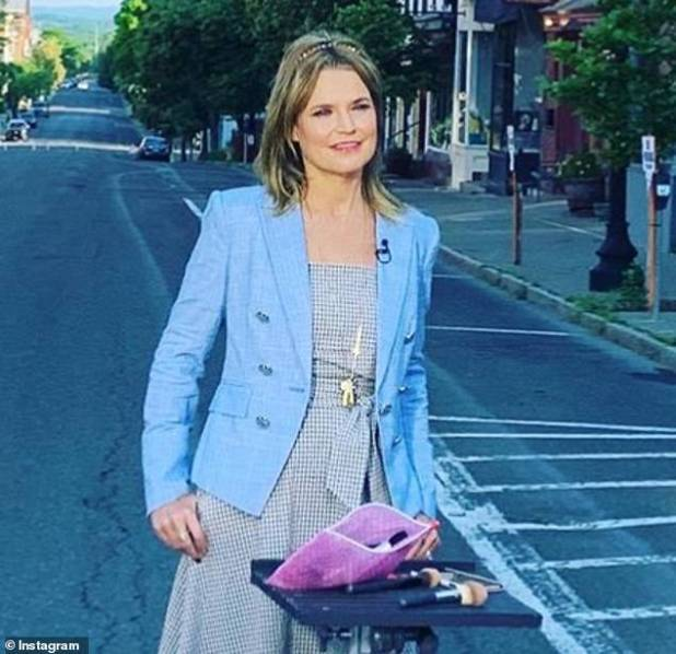 Great reunion: Savannah had her brown hair highlighted in a headband when she met her co-star Al Roker, 65, in the Hudson Valley, New York, live on the Today show on Tuesday.