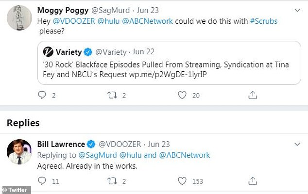 Making it happen: Lawrence confirmed that the episodes were being removed while replying to a tweet from a fan