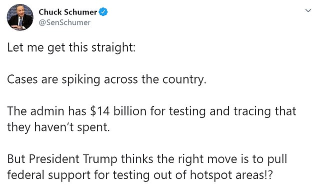 Sen. Chuck Schumer said Sunday that the White House hadn't spent $14 billion in allocated money on testing. He reacted to the news of the feds ending money for some testing sites with this tweet Wednesday morning