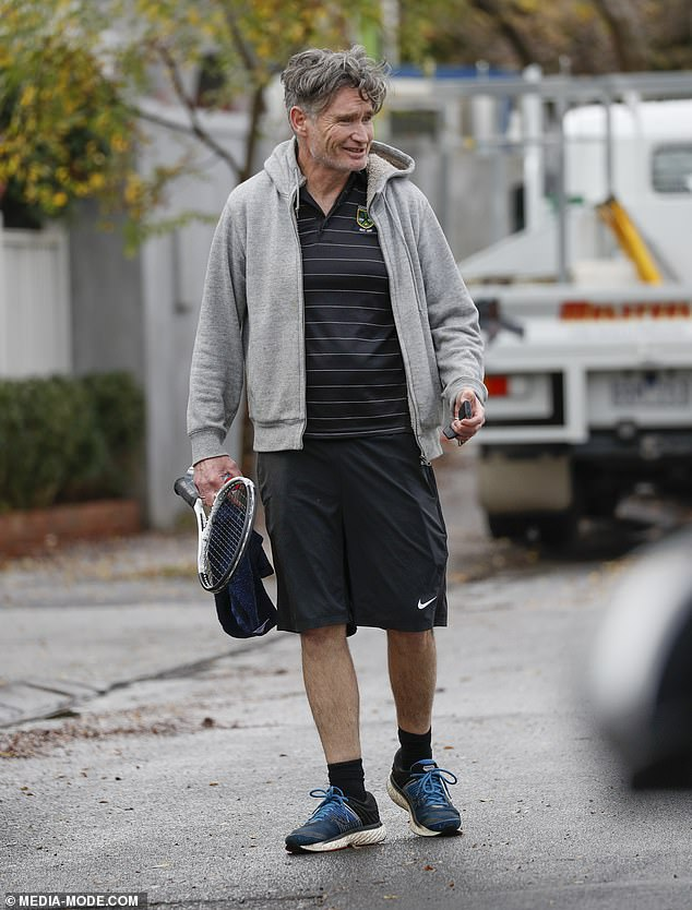 That's an ace! Comedian Dave Hughes was spotted leaving the Melbourne home of retired AFL player Chris Judd on Wednesday after a friendly game of tennis