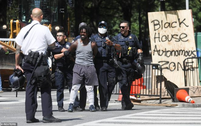Protesters on Tuesday attempted to establish the area outside the North Lawn of the White House as the 'Black House Autonomous Zone'