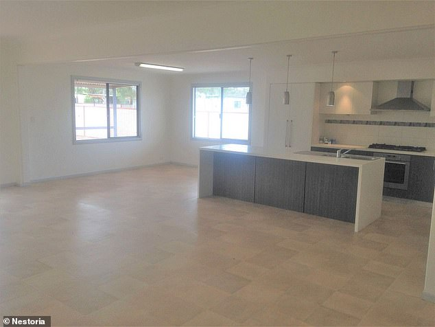 A large, spacious new kitchen (pictured) and dining area is perfect for a young family starting out