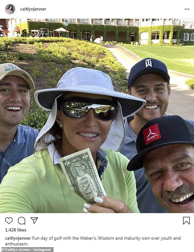 Interesting:Caitlyn Jenner raised eyebrows on Wednesday when she shared on Instagram that she enjoyed a 'fun day of golf' with The Bachelor's Peter Weber, 28, and his family