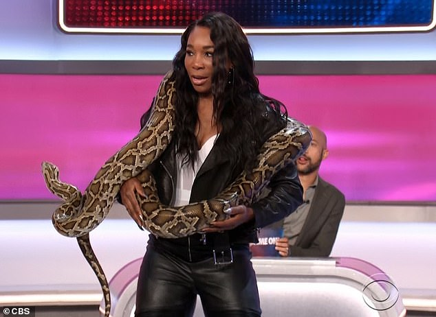 Famous pose: Venus was encouraged to strike the Britney Spears snake pose