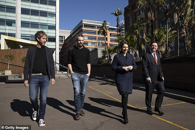 Atlassin co-founders Scott Farquhar, Mike Cannon-Brookes, NSW Premier Gladys Berejiklian and Minister Stuart Ayres arrive for the announcement of a new Tech hub for Sydney on Tuesday