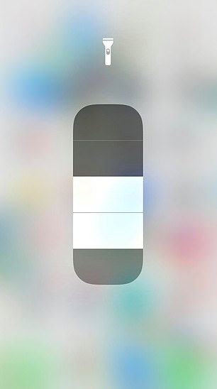 Tap and hold the flashlight icon. A pop-up will appear, and you will be able to slide the bar up or down to adjust the brightness of the torch to your preference