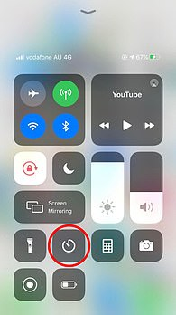 To set a timer, simply swipe your screen up from the bottom (older iPhone devices) or from the top right (iPhone X or newer models) to view the Control Center