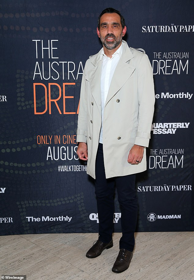 Adam Goodes (pictured at The Australiam Dream premiere in 2019) was inundated with support from US viewers after ESPN screened the documentary on Wednesday night