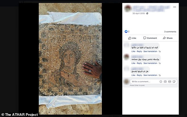 Facebook has banned the sale of all ancient artefacts amid fears that items looted from Iraq and Syria are being traded on its platforms. Pictured, an ancient mosaic for sale on Facebook