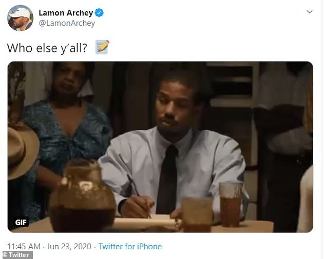 Disappointment:Meanwhile, another Days Of Our Lives actor Lamon Archey, 39, posted a gif from the movie Just Mercy and was clearly disappointed in Reeves