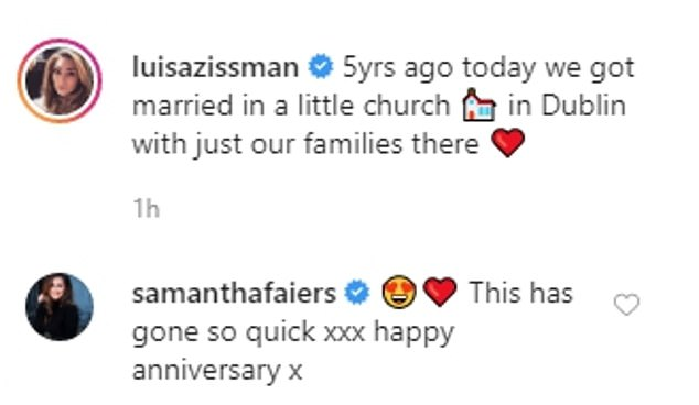 Happy times: Luisa shared this sweet post alongside the picture and her best friend Sam Faiers also commented